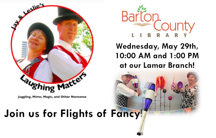 Flights of Fancy 2019 Summer Reading Program Wednesday, May 29th, 10:00 AM and 1:00 PM at our Lamar Branch!
