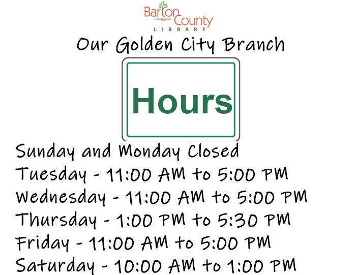 Golden City Branch Hours Sunday and Monday Closed Tuesday - 11:00 AM to 5:00 PM Wednesday - 11:00 AM to 5:00 PM Thursday - 1:00 PM to 5:30 PM Friday - 11:00 AM to 5:00 PM Saturday - 10:00 AM to 1:00 PM