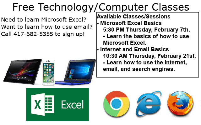 Free Technology Classes at our Lamar Library Branch! Available Classes/Sessions - Microsoft Excel Basics     5:30 PM Thursday, February 7th,      - Learn the basics of how to use      Microsoft Excel. - Internet and Email Basics     10:30 AM Thursday, February 21st,     - Learn how to use the Internet,        email, and search engines.