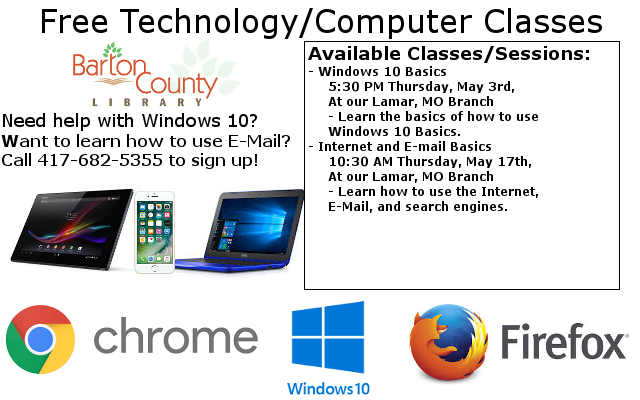 Free Technology Classes Ad website 4 27 2018 Call 417-682-5355 to sign up to Ask or more Details