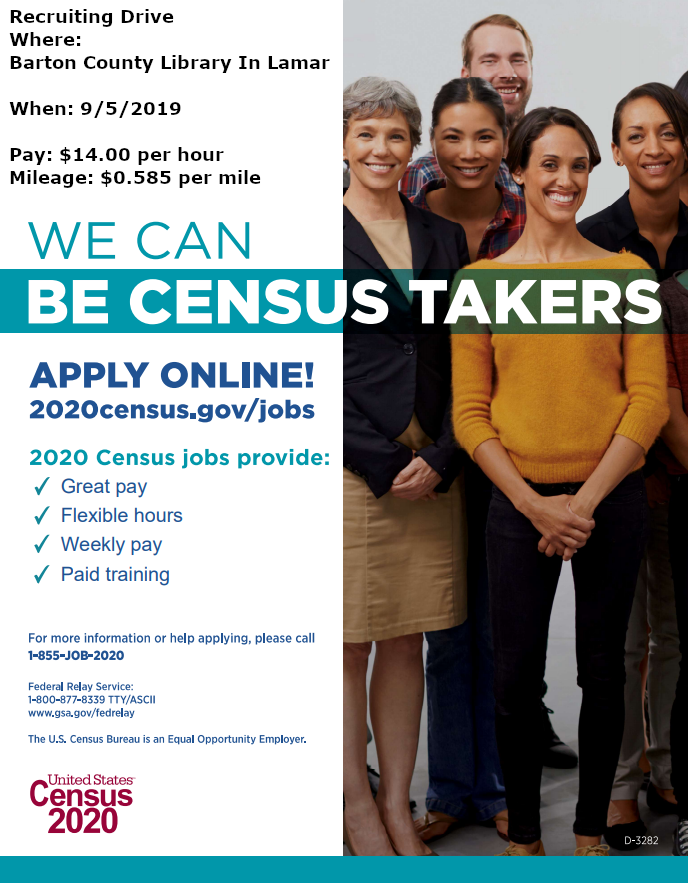 Recruiting Drive for 2020 Census to be hold at our Lamar Branch on September 5th, 2019. Pay will be $14.00 per hour and Mileage $0.585 per mile.