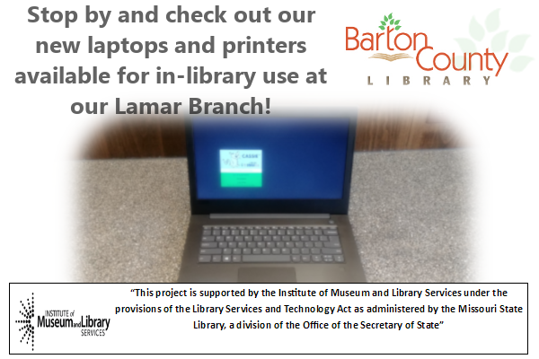 New Laptops Computers Stop by and check out our  new laptops and printers  available for in-library use at  our Lamar Branch!