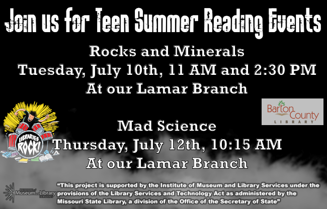 Teen Ad Website 2018 Tuesday July 11th 11 AM and 2:30 PM Books and Minerals