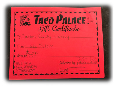 15-Taco Palace Gift Certificate