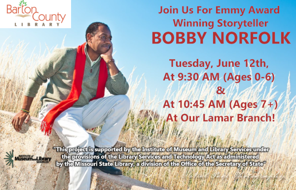 Bobby Norfolk June 12th 2018 at 930 AM and 1045 AM at our Lamar Branch