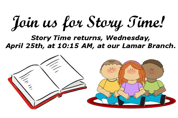 Story Time website ad april 25th 2018
