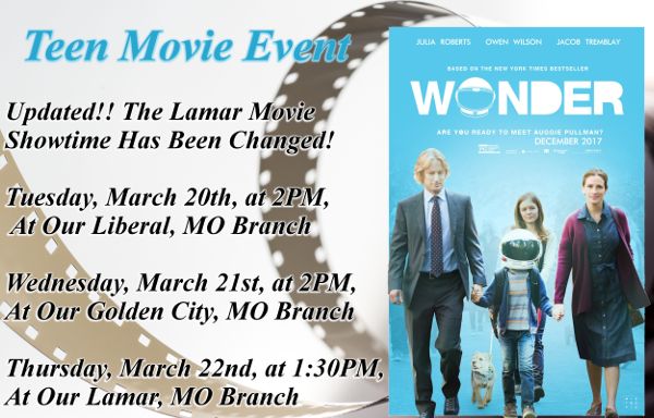 Teen Movie Sign March 2018 website
